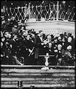 Photograph of Abraham Lincoln's second inaugural. Lincoln is at the very center of the picture surrounded by dignitaries. Credit: Image courtesy of American Memory at the Library of Congress.